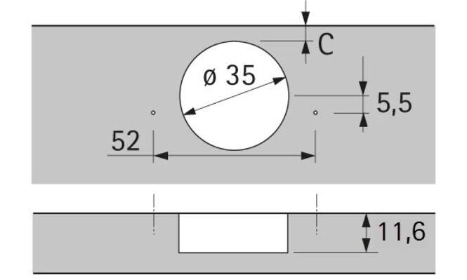 Sensys Weitwinkelscharnier, mit Null-Einsprung, mit integrierter Dämpfung (Sensys 8657i), vernickelt, vorliegend, Öffnungswinkel 165°, Bohrbild TH 52 x 5,5 mm, zum Anschrauben (-)