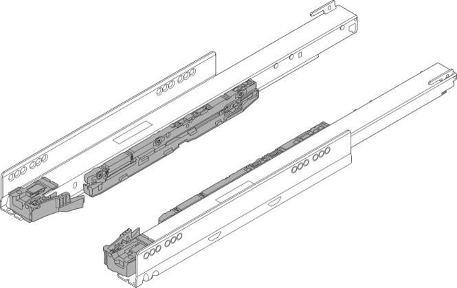 LEGRABOX Korpusschiene mit BLUMOTION S, Vollauszug, 40 kg, NL=500 mm, links/rechts, verzinkt
